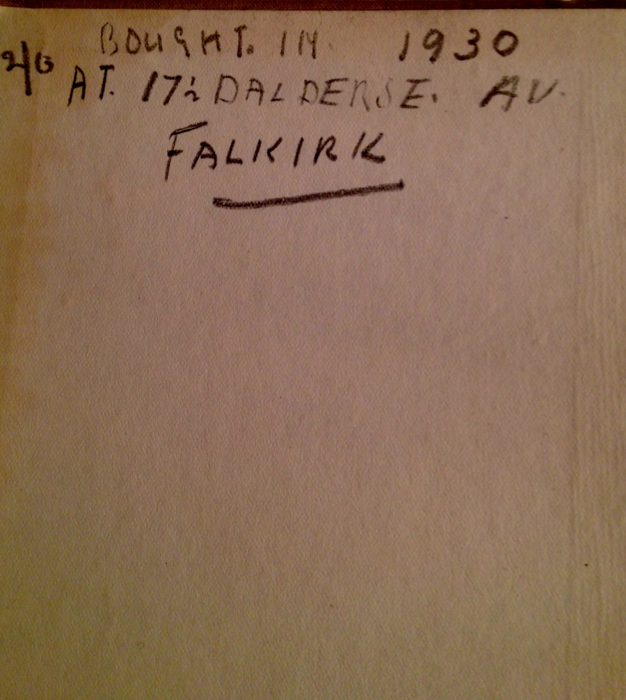 On the inside cover of the book my Great-Grandfather bought for my Great-Grandmother.