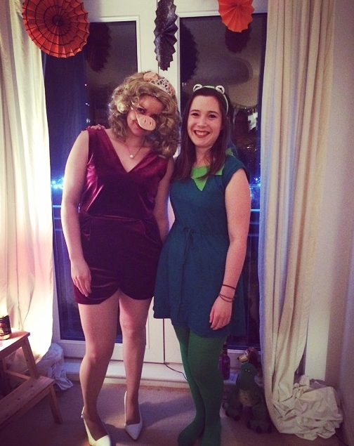 Photo of Eve and Erin in costume.